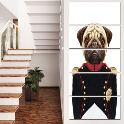 Designart Pug Dog in Military Uniform Animal Canvas Art Print - 4 Panels