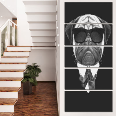 Designart Pug Dog Portrait in Suit Animal Canvas Art Print -4 Panels
