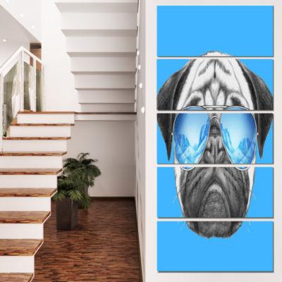 Designart Pug Dog With Mirror Sunglasses Animal Canvas Art Print - 5 Panels