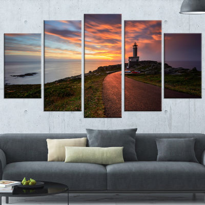Punta Nariga Lighthouse Spain Large Seashore PhotoCanvas Art Print - 5 Panels
