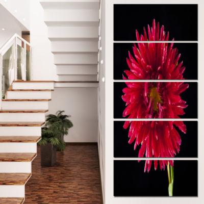 Purple Abstract 3D Flower on Black Flowers CanvasWall Artwork - 4 Panels