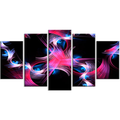 Designart Purple Blue Fractal Flowers Floral Canvas Art Print - 5 Panels