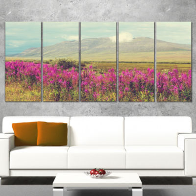 Designart Purple Flowers and Distant Mountains Floral CanvasArt Print - 5 Panels