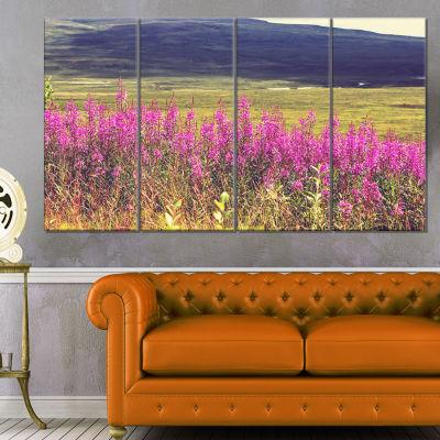 Designart Purple Flowers in Mountain Pasture Floral Canvas Art Print - 4 Panels