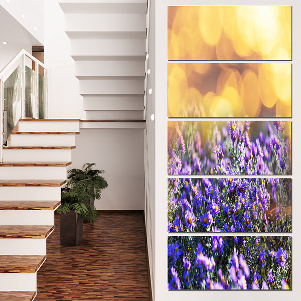 Designart Purple Flowers on Brown Background LargeFlower Canvas Art Print - 4 Panels