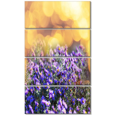 Purple Flowers on Brown Background Large Flower Canvas Art Print - 4 Panels