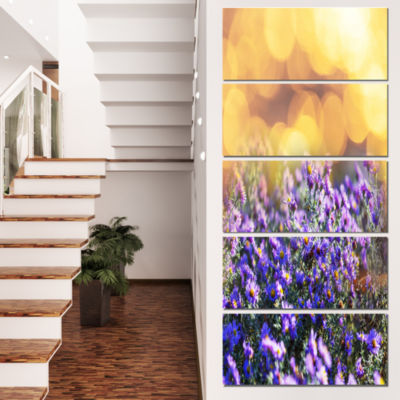 Designart Purple Flowers on Brown Background LargeFlower Canvas Art Print - 5 Panels