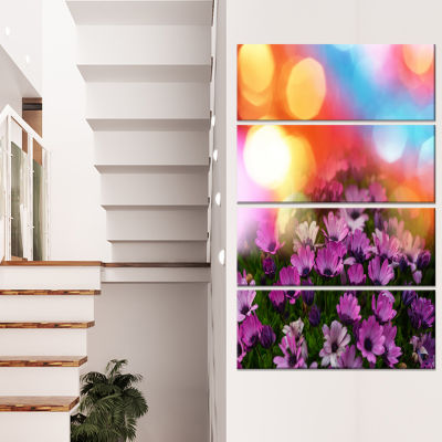 Designart Purple Flowers on Colorful Background Large FlowerCanvas Wall Art - 4 Panels