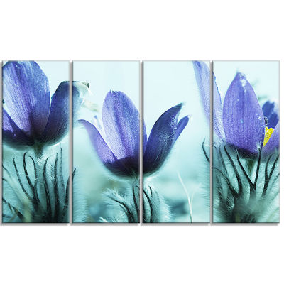 Purple Flowers With Large Petals Large Flower Canvas Wall Art - 4 Panels