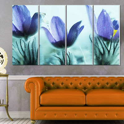 Designart Purple Flowers With Large Petals Large Flower Canvas Wall Art - 4 Panels