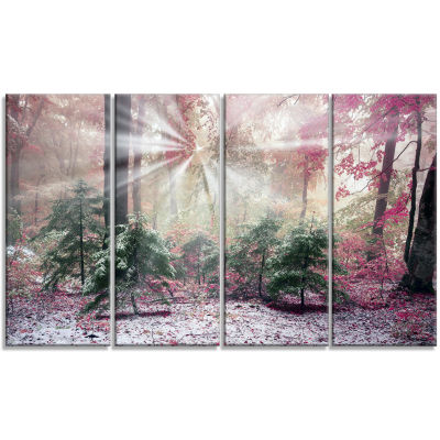 Purple Forest With Sun Rays Landscape Photo CanvasArt Print - 4 Panels