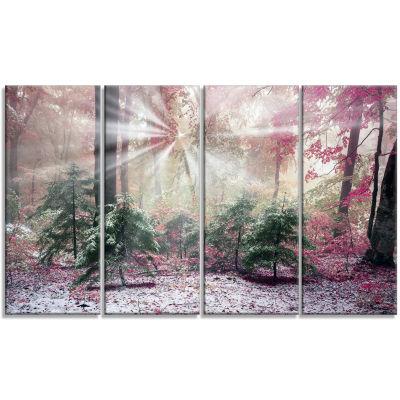 Designart Purple Forest With Sun Rays Landscape Photo CanvasArt Print - 4 Panels