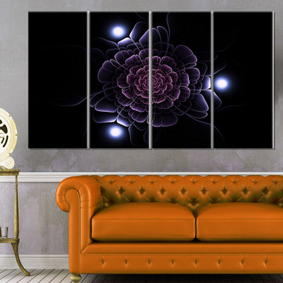 Designart Purple Fractal Flower on Dark Floral Canvas Art Print - 4 Panels