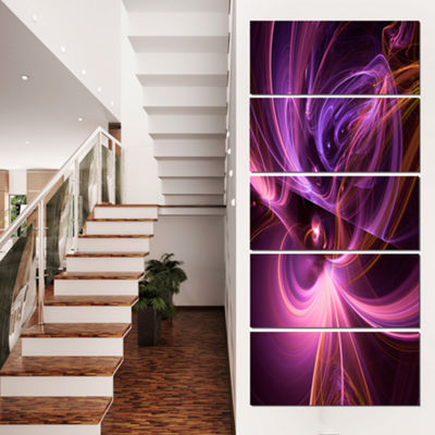 Designart Purple Fractal Light Art in Dark Abstract Canvas Art Print - 5 Panels