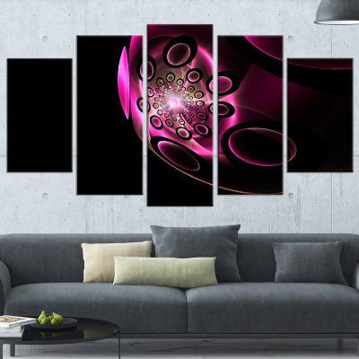 Designart Purple Fractal Sphere in Dark Floral Canvas Art Print - 5 Panels