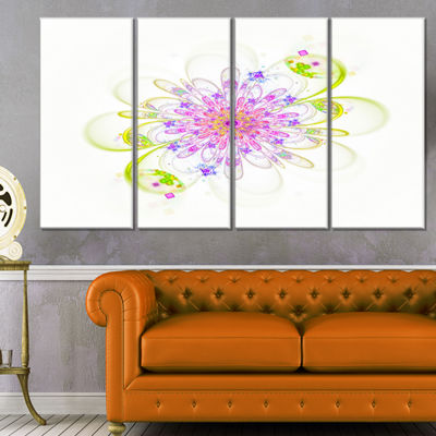 Designart Purple Green Glowing Fractal Flower Floral CanvasArt Print - 4 Panels