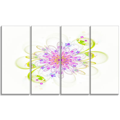 Purple Green Glowing Fractal Flower Floral CanvasArt Print - 4 Panels