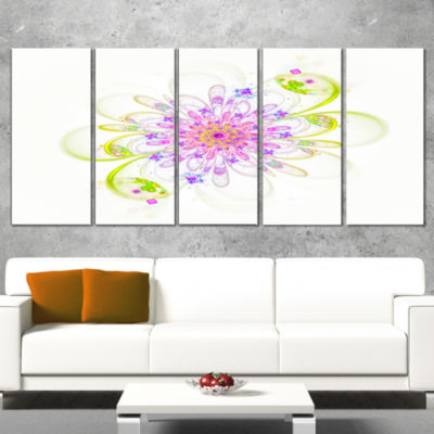Designart Purple Green Glowing Fractal Flower Floral WrappedCanvas Art Print - 5 Panels