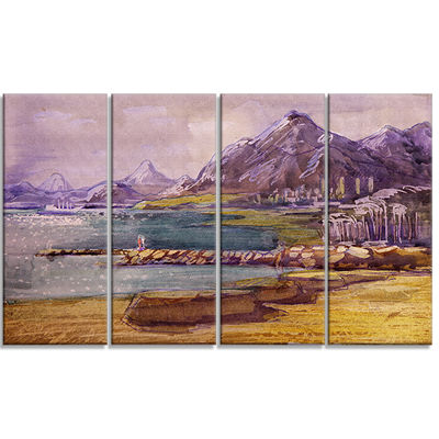 Designart Purple Hills Landscape Art Print Canvas- 4 Panels