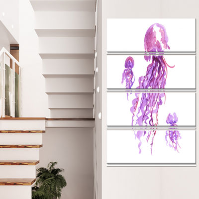Designart Purple Jellyfish Watercolor Abstract Canvas Art Print - 4 Panels