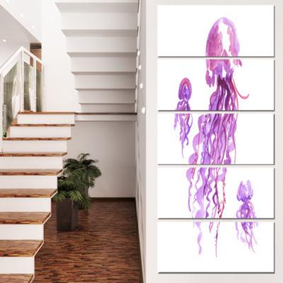 Designart Purple Jellyfish Watercolor Abstract Canvas Art Print - 5 Panels