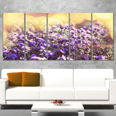 Purple Little Wild Flowers Floral Canvas Art Print- 5 Panels