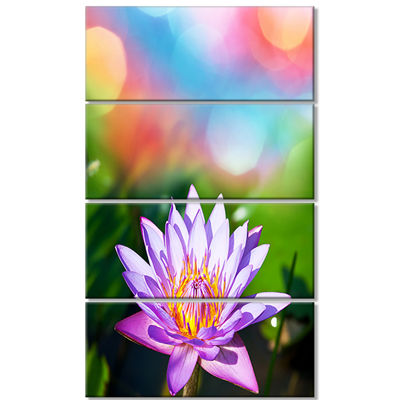 Designart Purple Lotus on Abstract Background Large Flower Canvas Wall Art - 4 Panels