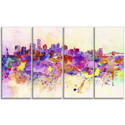 Designart Purple New York Skyline Cityscape CanvasArt Print- 4 Panels