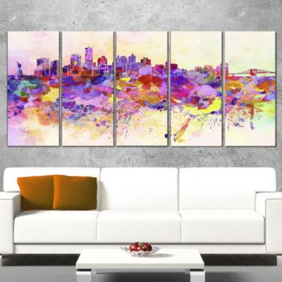 Designart Purple New York Skyline Large CityscapeCanvas ArtPrint - 5 Panels