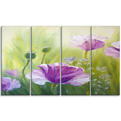 Designart Purple Poppies in Morning Floral Art Canvas Print- 4 Panels