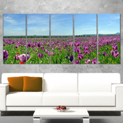Designart Purple Poppy Field Panorama Floral Wrapped CanvasArt Print - 5 Panels