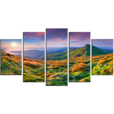 Designart Purple Sky and Green Mountains LandscapePhoto Wrapped Canvas Art Print - 5 Panels