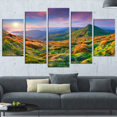 Designart Purple Sky and Green Mountains LandscapePhoto Canvas Art Print - 5 Panels