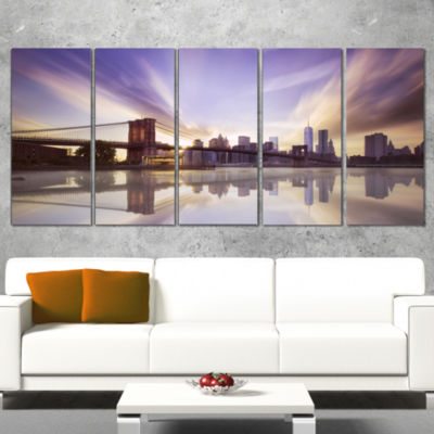 Designart Purple Sky Over Brooklyn Bridge Cityscape Photo Canvas Print - 4 Panels