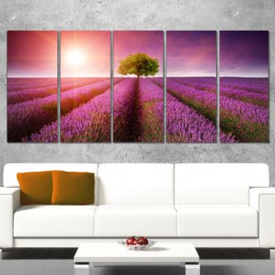 Designart Purple Sky Over Stunning Lavender FieldFloral Canvas Art Print - 5 Panels