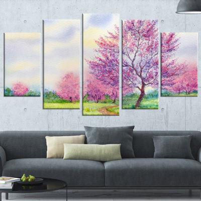Designart Purple Spring Landscape Floral Art Canvas Print -5 Panels