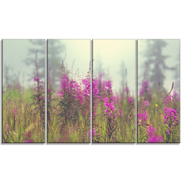 Designart Purple Summer Flowers in Foggy Field Floral Art Canvas Print - 4 Panels