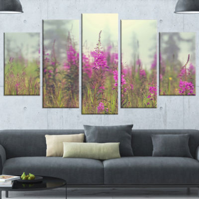 Purple Summer Flowers in Foggy Field Floral Art Wrapped Canvas Print - 5 Panels