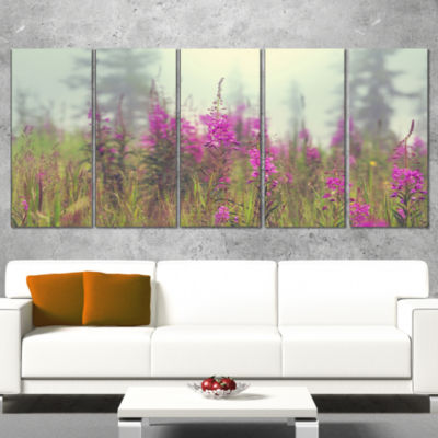 Purple Summer Flowers in Foggy Field Floral Art Canvas Print - 5 Panels