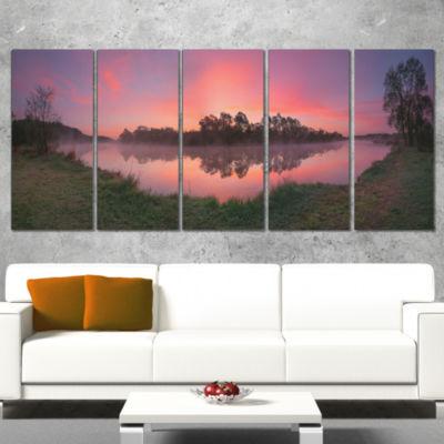 Designart Purple Tinged Lake Sunrise View Landscape ArtworkCanvas - 5 Panels