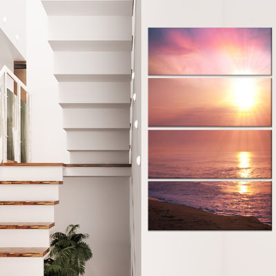 Designart Purple Tinged Seashore At Sunset Seashore Canvas Art Print - 4 Panels