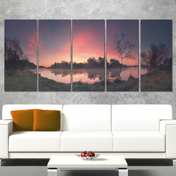Purple Tinged Spring Mountains Landscape Artwork Wrapped Canvas - 5 Panels