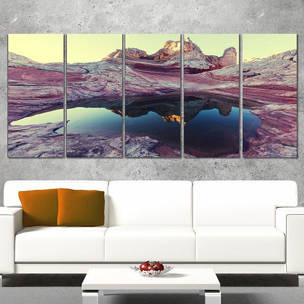 Designart Purple Tinged Vermilion Cliffs LandscapeWrapped Canvas Art Print - 5 Panels