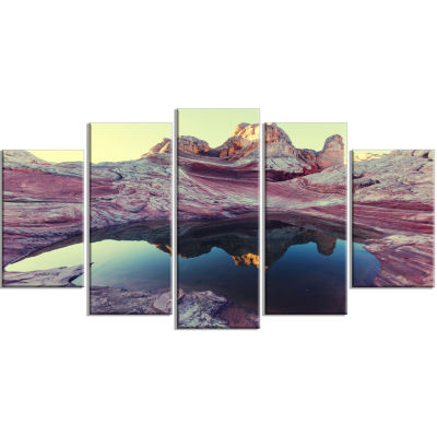 Purple Tinged Vermilion Cliffs Landscape Wrapped Canvas Art Print - 5 Panels