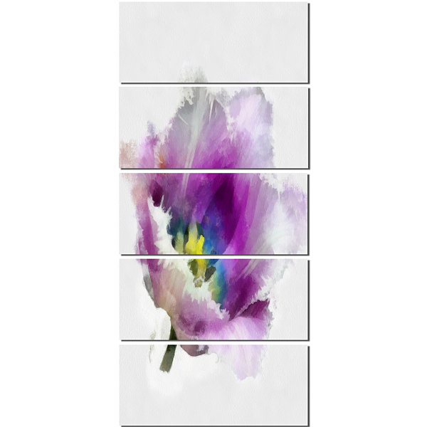 Designart Purple Watercolor Tulip Flower Floral Canvas Art Print - 5 Panels