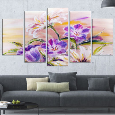 Designart Purple Wildflowers Floral Art Canvas Print - 4 Panels