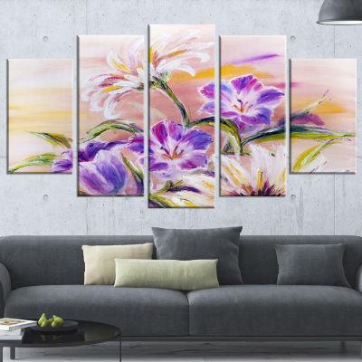 Designart Purple Wildflowers Large Floral Art Canvas Print -5 Panels