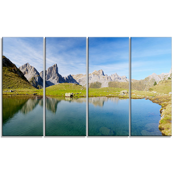 Designart Pyrenee in France Panorama Landscape Artwork Canvas - 4 Panels