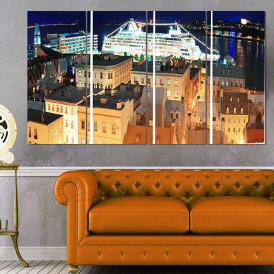 Designart Quebec City Cityscape Photo Canvas Art Print - 4 Panels