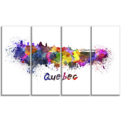 Quebec Skyline Cityscape Canvas Artwork Print - 4Panels